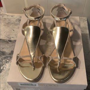 Jimmy Choo Hanzi Flat Sandal in Nude Mix Size 9